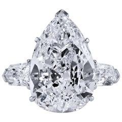 7.01 Carat Pear Cut Diamond Engagement Ring