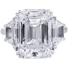 10.07 Carat Emerald Cut Diamond Engagement Ring