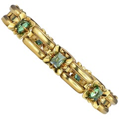 5.53 Carat Cabochon Green Tourmaline Yellow Gold Bracelet