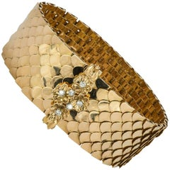 Retro Diamond and Yellow Gold Buckle Bracelet