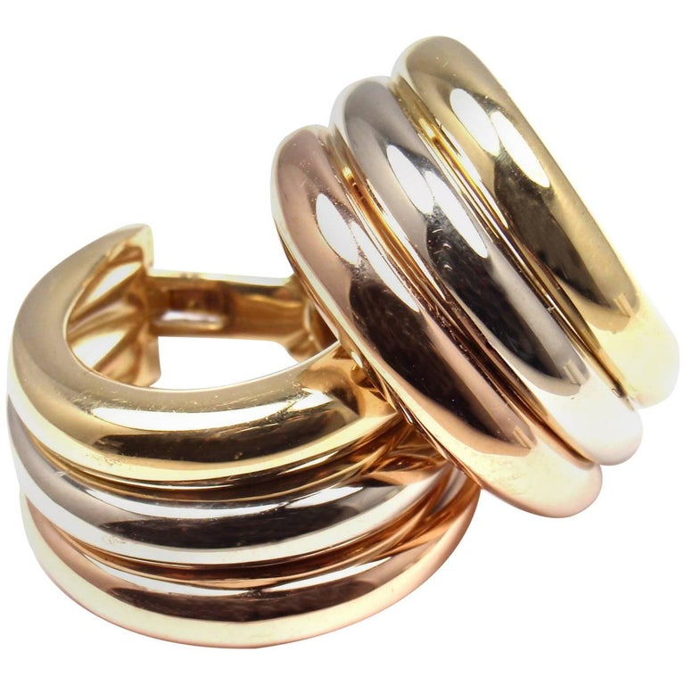 Cartier Large Size Trinity Hoop Tri Color Gold Earrings For