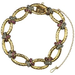 Victorian Diamond and Ruby Gold Link Bracelet