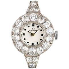Omega Ladies Platinum Diamond Set Vintage Wristwatch