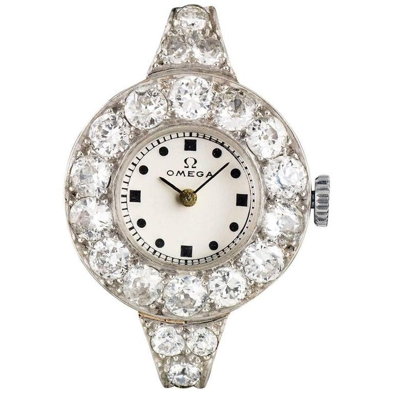 Omega Ladies Platinum Diamond Set Vintage Wristwatch