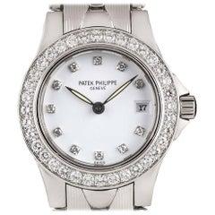 Patek Philippe Ladies White Gold White Diamond Dial Neptune B&P Wristwatch