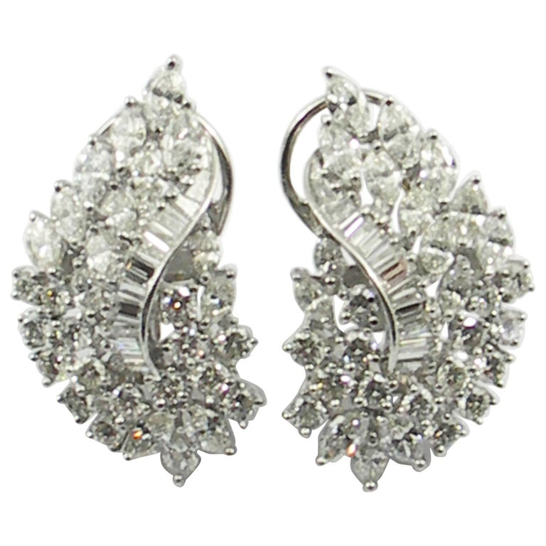 Diamond and White Gold Cocktail Earrings For Sale