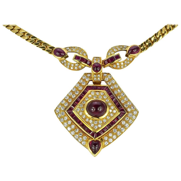 Ruby Diamond Pendant Yellow Gold Necklace For Sale