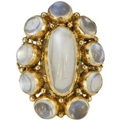 Cabochon Moonstone and Gold Ring