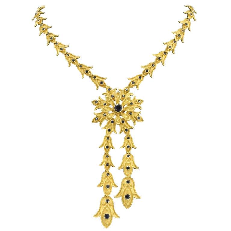 Vintage Greek 18 Karat Gold Blue Sapphire Florette Necklace