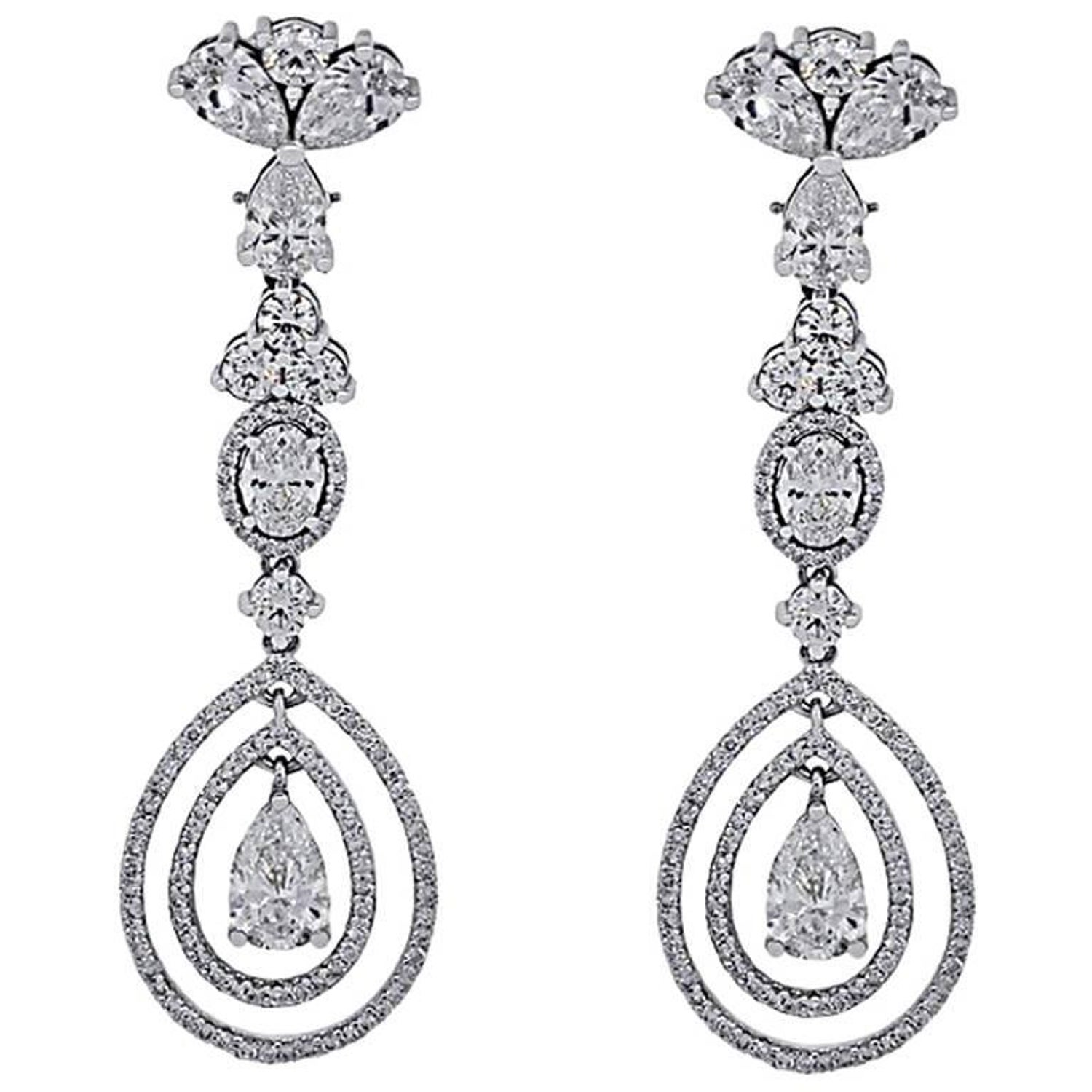 GIA Certified 12 68 Carat Total Weight Diamond Dangle Earrings For