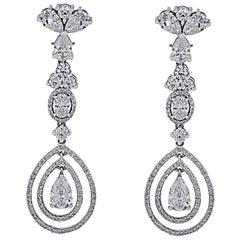 GIA Certified 12.68 Carat Total Weight Diamond Dangle Earrings