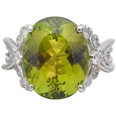 7.93 Carat Oval Green Tourmaline Diamond Cocktail Ring