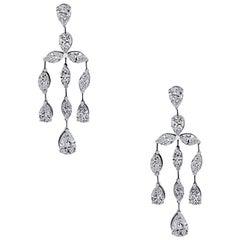 15.33 Carat Total Weight Chandelier Diamond Earrings