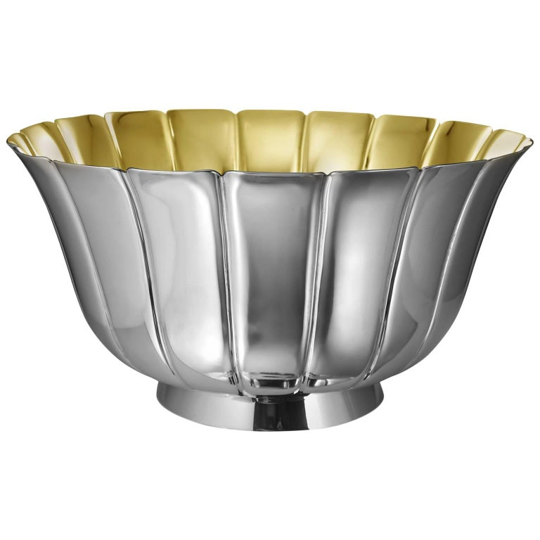 Bulgari Vintage Sterling Silver and Vermeil Fluted Bowl For Sale