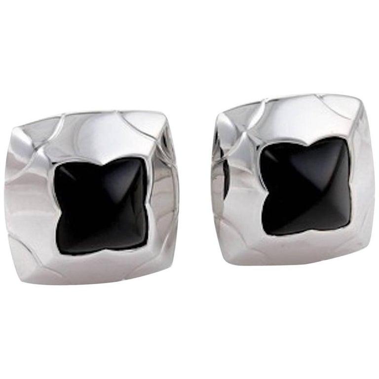 Bulgari Piramide Onyx White Gold Earrings