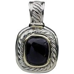 David Yurman Black Onyx Albion Silver and Gold Enhancer Pendant