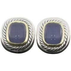 David Yurman Chalcedony Large Albion Cable Silver and Gold Earrings