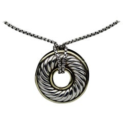 David Yurman Carved Cable Disc Silver and Gold Pendant Necklace