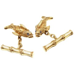 Tiffany & Co. Jean Schlumberger Fish Sapphire Yellow Gold Cufflinks