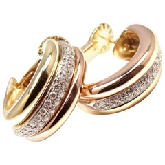 Cartier Trinity Diamond Hoop Tri-Color Gold Earrings