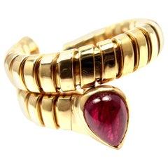 Bulgari Tubogas Ruby Coil Snake Yellow Gold Ring
