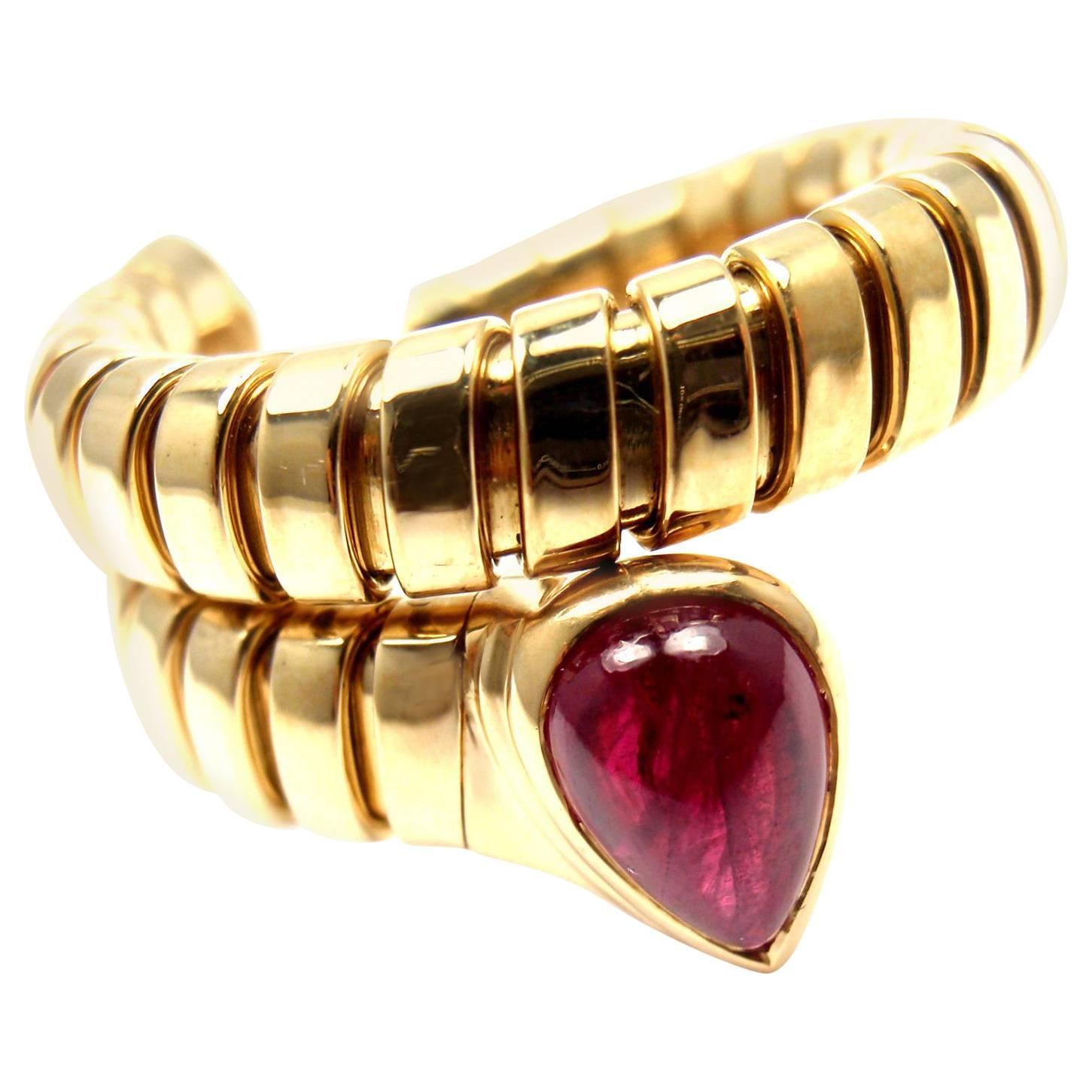 bulgari tubogas ruby coil snake yellow gold ring 1
