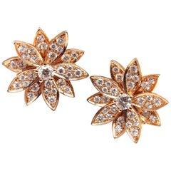 Van Cleef & Arpels Lotus Diamond Flower Rose Gold Earrings