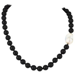 Decadent Jewels Matt Onyx and Large Baroque Pearl Silver Necklace