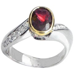Oval Shape Ruby 1.38 and Round Diamonds 0.38 Italian Ring, circa 1960