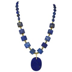 Decadent Jewels Lapis Lazuli Pendant Gold Necklace