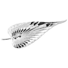 Handmade White Gold Leaf Brooch with Diamond Touch