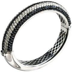 Black and White Diamonds Bangle Bracelet, circa 1980