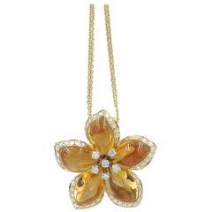 Citrine and Diamonds Gold Flower Pendant