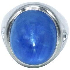 1940s Star Sapphire and Diamond Ring