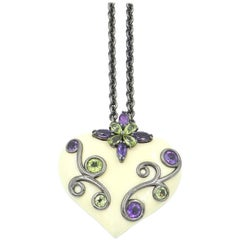 Silver Heart Pendant with White Enamel Amethyst and Peridot