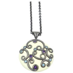 White Enamel Round Silver Pendant with Amethyst and Blue Topaz