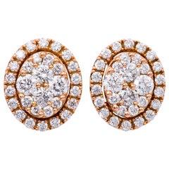 Diamond Cluster Rose Gold Studs