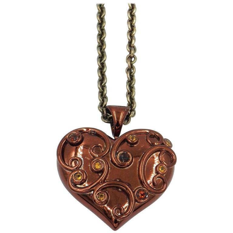 Brown Enamel Heart Silver Pendant with Citrine Madera Citrine Smoky Quartz