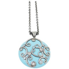 Silver Round Pendant with Turquoise Color Enamel White Topaz Blue Topaz