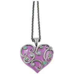 Silver Heart Pendant with Purple Enamel Tzavorite and Amethyst
