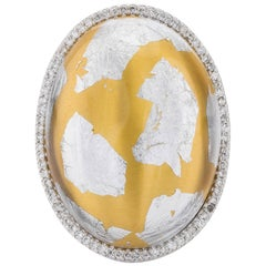 Italian Designed Domed Sterling Silver Gold Enamel Ring with Silver Foliage