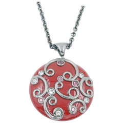 Silver Red Enamel Round Pendant with White Topaz and Garnet