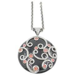 Silver Modern Round Pendant with Orange Citrine