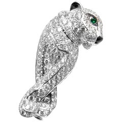 Cartier Panther Panthere Diamond Onyx Emerald White Gold Pin Brooch