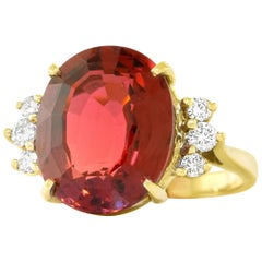 1960s Tourmaline and Diamond Set Gold Ring