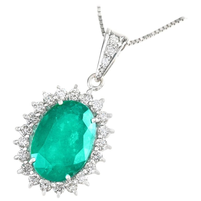 8.50 Carat Emerald and Diamond Set White Gold Pendant GIA