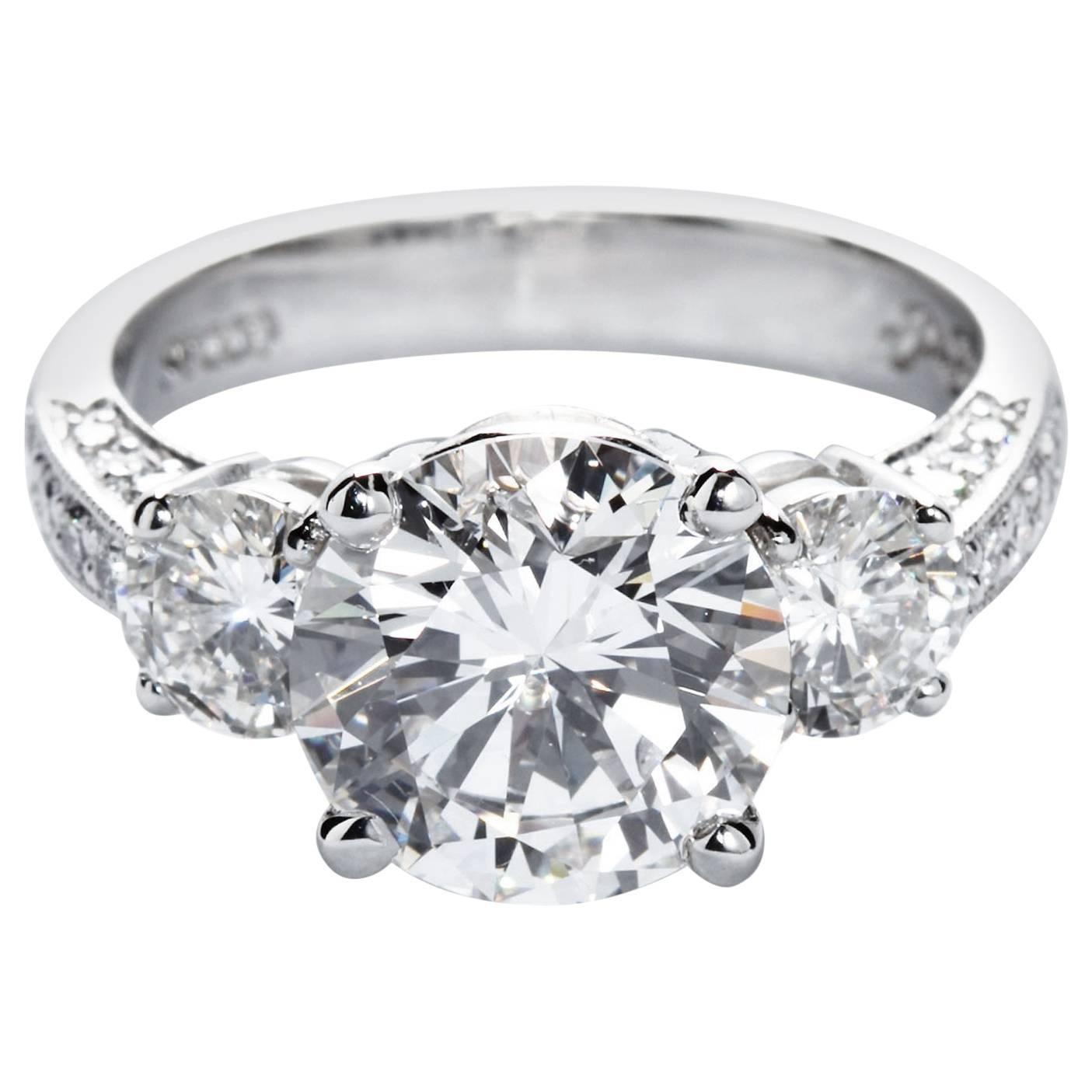 Round Brilliant Diamond Three-Stone Engagement Ring, 3.51 Carat E-VVS2 GIA