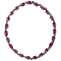 Late Edwardian Pink-and-White Paste Rivière Necklace