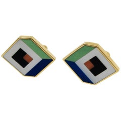 Asch Grossbart Gold Multistone Optical Illusion Earclips