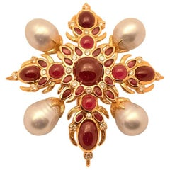 Exquisite Tony Duquette Ruby Pearl and Diamond Gold Brooch Pin